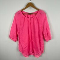 Sussan Womens Linen Tunic Top 10 Pink 3/4 Sleeve Round Neck