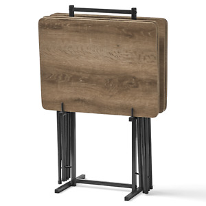Mainstays 5-Piece Folding Tray Table Set with Stand, Rustic Brown