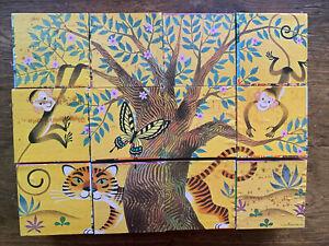 Rare Vintage 1960 Golden Press Picture Puzzle Block Train Animal People Pirate
