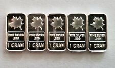(5) 1 GRAM 0.999+ PURE SILVER BARS- CANADIAN MAPLE LEAVES