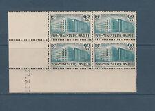 timbre France bloc de 4 coin daté orphelins ministère des PTT Paris  num: 424 **
