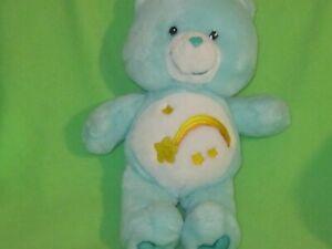 "Care Bear 12""Plush Wish Bear 2002 Mint Green Stuffed Animal Shooting Star Toy"