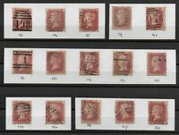 """SG43.  1d.""""Plates"""" FU. Between 133 & 218 (15 Stamps). Includes Better. Ref.0-113"""