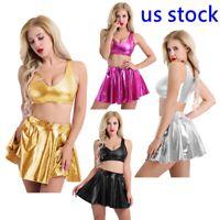 Women Patent Leather Shiny Metallic Sleeveless Crop Tank Top Pleated Skirts Set