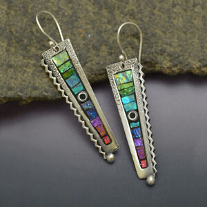 Chic Exquisite 925 Silver Rainbow Dangle Earrings Women Engagement Gifts Jewelry