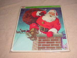 """VINTAGE 1971 HERE COMES SANTA FRAME TRAY  PICTURE PUZZLES, 11 1/2"""" 15"""" #4528"""