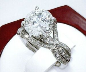 4.10Ct White Round Diamond Engagement Wedding Ring Set Solid 925 Sterling Silver