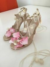 Christian DIOR PRETTY RARE Nude Satin Pompoms Flowers Heels EU 39.5 I LOVE SHOES