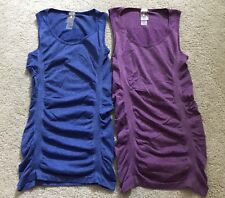 2 Calia Size XS Seamless Workout Tank Ruched Sides Blue and Purple