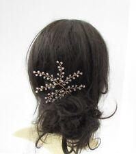Large Gold Fern Vine Leaf Hair Pin Clear Bead Bridal Wedding Bridesmaid 6004