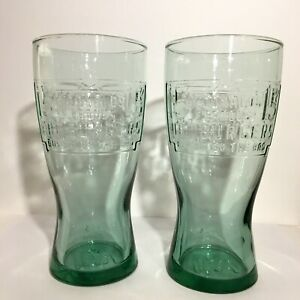 "Set of 2 - McDonald's 6.5"" Green Glass 1948 VINTAGE DESIGN 15 Cent HAMBURGER"