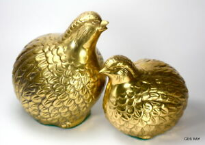 Pair Bird Brass Sculpture Quail Birds Figurines Vintage Japan
