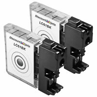 2PK New Compatible LC61BK for Brother LC61 BLACK Ink Cartridge DCP-165c DCP-585C