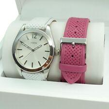 Guess Uhr Uhren Damenuhr W12106L1 mit Wechselbänder weiß Pink Leder Armband NEU