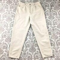 "Talbots Womens Pants size 14 Short x30"" inseam Beige Linen Cotton Slim Tapered"