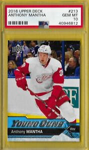 2016 Young Guns  #213 Anthony Mantha PSA 10 Gem Mint Rookie Capitals Red Wings