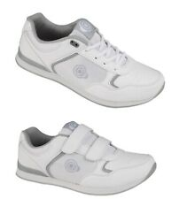 550c2ea417f Clearance DEK Drive Mens Velcro Strap Comfort Bowling Shoes trainers White grey  UK 8