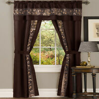 Window in a Bag Chocolate Floral Window Curtain Set with Panel and Valance