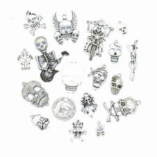 18pcs Tibetan Silver Color Skull Pendant Charms for Halloween Jewelry Making