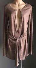 NWOT  Brown DAVID LAWRENCE Long Sleeve Front Tie Knit Cardigan Size M/10