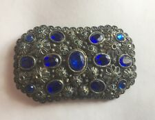 Vintage Art Deco Brooch by New England Glass Works-Sapphire Blue Glass Stones