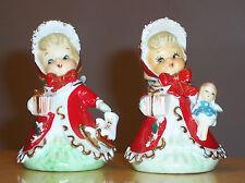 2 Vintage 1940's LEFTON Christmas Angel Bells w/ Spaghetti Trim - Signed/Stamped
