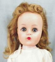 Vintage Girl Doll 19in Vinyl Head Hard Plastic Body Rooted Saran Hair 1950s