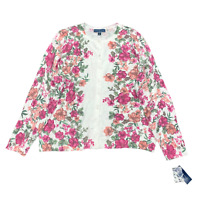 New $55 Value! KAREN SCOTT 0X Pink Floral Long Sleeve Crew Neck Cardigan