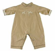 JACADI Unisex Avers Beige Embroidered Collared Jumpsuit Size 6 Months $66 NWT