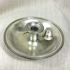 Antique Chamber Candlestick Candle Holder Victorian Silver Plate 19th Century