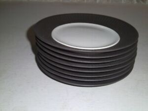 Dansk IHQ Designs Quistgaard Brown Flamestone 8 BREAD PLATES Denmark MCM UNUSED