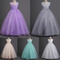 Flower Girl Kids Princess Tulle Layers Wedding Bridesmaid Formal Long Maxi Dress