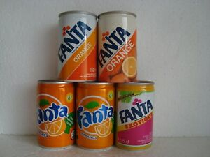 """5 old different """"FANTA"""" 150ml Cans"""