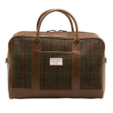 The British Bag Company - Green and Red Harris Tweed Breanais Travel Holdall/Bag