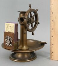 Antique Nautical Brass Ships Wheel Cigar Cutter, Match Holder US Navy Eagle, NR