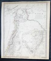 1843 SDUK Large Antique Map Syria, Lebanon, Israel, Gaza, inset Sinai Peninsula