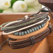 1Set Adjustable Leather Bracelet Punk Casual Cuff Women/Men`s Gift