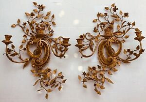 Vintage pair tole ware wall candle holders sconces gold gilt wood and metal