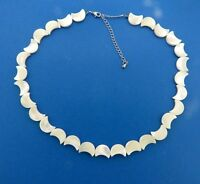 Vintage Mother of Pearl Shell Cresent Bead Necklace Strand 10 mm 17-20""