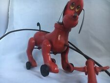 Unmarked Red Mechanical Pull String on Wheels Hard Plastic Collectible Dog Toy