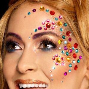 100 PCS Rainbow Jewel Face Gems Festival Boho Bindi Crystal Pride Multicolour