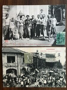 2 X SOUTHEAST ASIA OLD POSTCARD CAMBODIA CAMBODGE WOMEN PEOPLE TO FRANCE 1908 !!