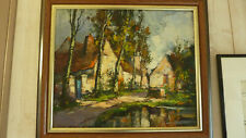 Robert FALCUCCI (1900-1989) peintre Bourguignon : HST Paysage,ferme près la mare