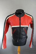 VINTAGE 1970's CLASSIC BLACK, RED & WHITE LEATHER BIKER JACKET 36 INCH