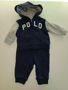 NWT Ralph Lauren Polo Baby Boys 2PC Navy/Gray Jogging Suit Sz.6M. Free shipping!