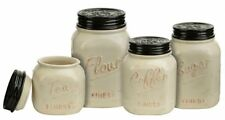 Mason Jar Canister Set 4 Pc Kitchen Counter Storage Ceramic Sugar Flour Ivory