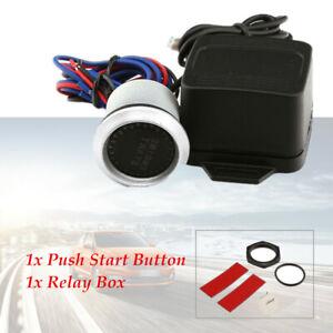 12V Car Engine Start Blue LED Keyless Entry Push Switch Lgnition Starter Durable