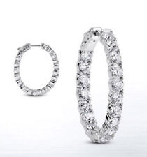 4.41 carat Round cut Diamond 14k White Gold Hoop Oval shape Earring 44 x 0.10 ct