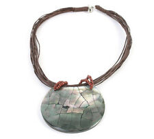 Round Natural Shell Pendant Necklace with Tiny Coconut Beads Handmade in Bali