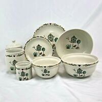 9 PIECE ODD LOT THOMSON BIRDHOUSE CANISTER MIXING BOWL DINNER PLATE FREE SHIP